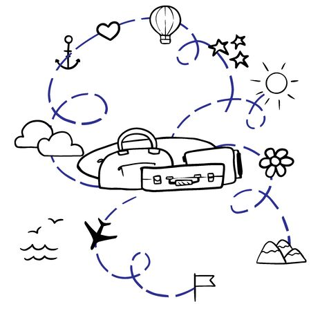 Doodle sketch suitcases and surf board, cartoon drawing, items for traveling to the beach on a white background