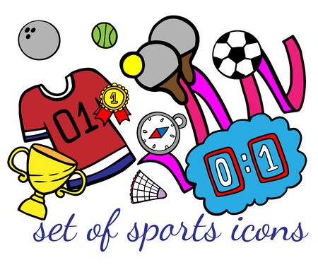Doodle set of sport icons on a white background 向量圖像