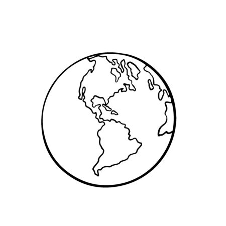 globe, doodle sketch on a white background, isolate, South and North America