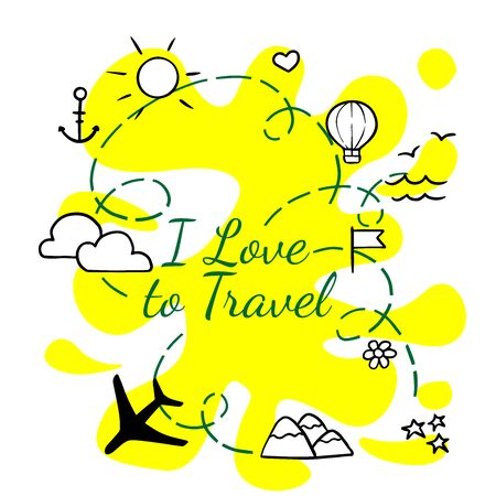 doodle sketch icons travel, plane, suitcase, anchor, sun, clouds on white background