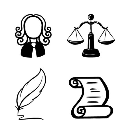 Symbol of law and justice. Conceptual law and justice. Scales of justice, a judge, a pen, a paper roll. Vector illustration doodle 일러스트
