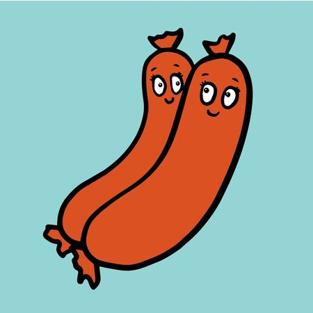 Cute and satisfied sausages on blue background
