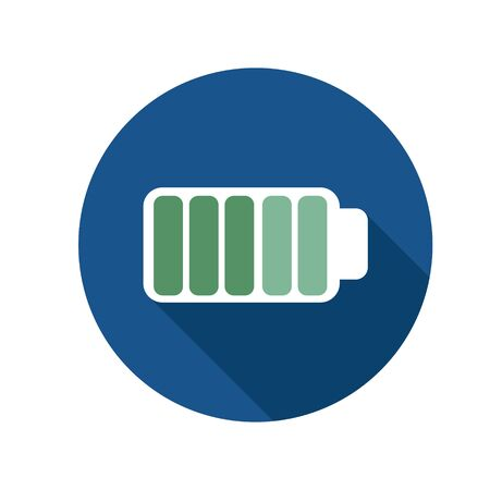 Simple flat illustration of a charged battery. Icon, button full charge on a white background.