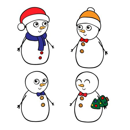 doodle sketch snowman. Simple, flat illustration on a white background.  イラスト・ベクター素材