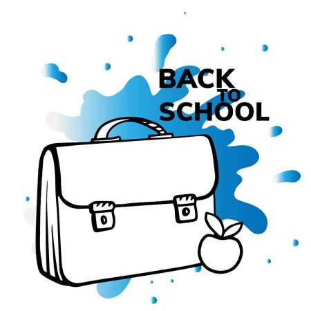 doodle sketch schoolbag, bag and apple, cartoon figure on white background