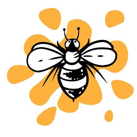 doodle sketch bee, icon on a white background Ilustração