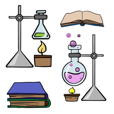 Doodle sketch chemical devices, flasks, books. Cartoon illustration on a white background. Ilustração