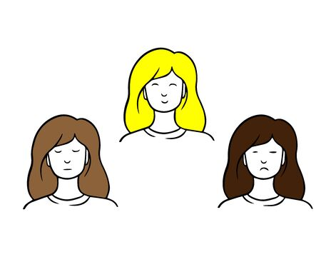 Girl with different expressions. Vector cartoon isolated characters