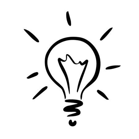 Doodle sketch light bulb, illustration on white background Ilustracja