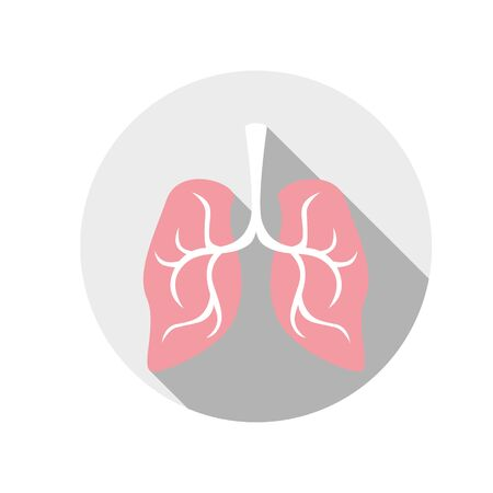 simple, flat illustration of the lungs. Illustration for icons, buttons, logo on a white background.