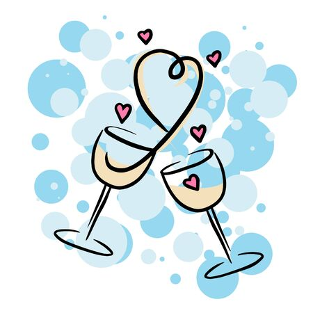 Doodle sketch glasses of champagne with hearts. Simple, flat illustration for Valentine's day on a white background.