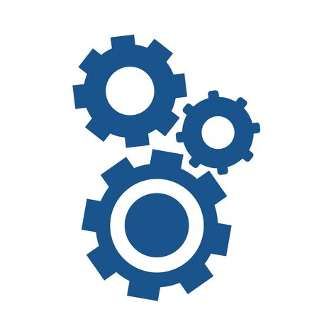 Simple flat gear illustration. Repair icon, breakdown 矢量图像