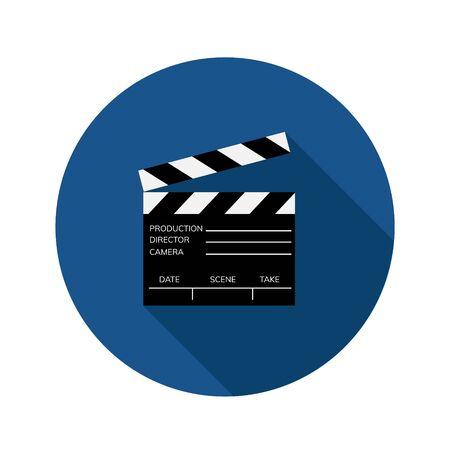 Flat, simple clapper board icon Vector Illustration
