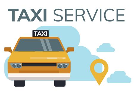 Simple flat illustration for taxi call application. Illustration of a taxi car and geolocation tags Stock Illustratie