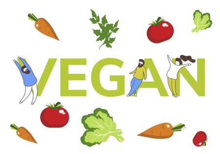Simple flat illustration of the inscription vegan with vegetables and tiny men. Layout  , banner, advertisement