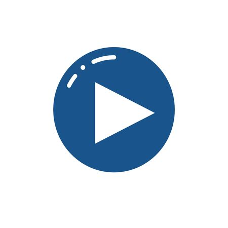 Play video button design. Vector icon for music or video player. Play button symbol in black and white style. I