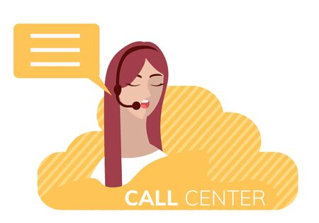 Vector illustration in flat style customer service. Woman with headphones and microphone.