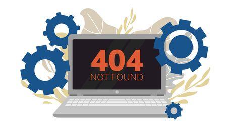 Simple flat illustration of a laptop. Failure, broken computer. Error 404 on the screen