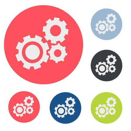 Simple flat gear illustration. Repair icon, breakdown 向量圖像