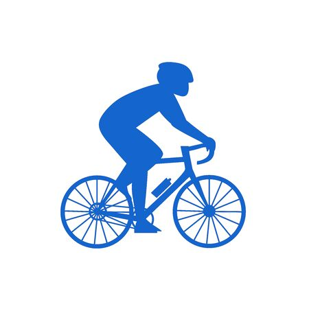 Simple flat illustration of a cyclist. Icon silhouette of a man on a bicycle on a white background