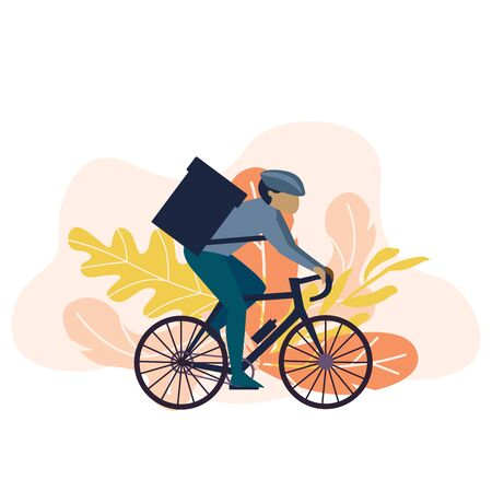 Simple flat illustration for delivery service. Cyclist with bag on white background Vettoriali