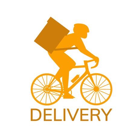 Simple flat illustration of a cyclist, man on a bicycle. Delivery icon. Vettoriali