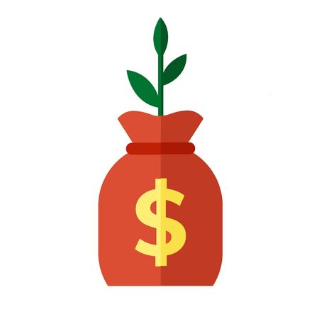 Plant bag of money icon. Simple flat illustration of a bag with money and a sprout on a white background. Illustration