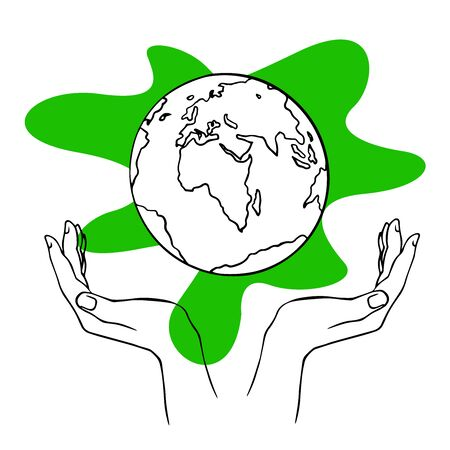 doodle sketch hands hold globe, save planet, illustration isolated on white background