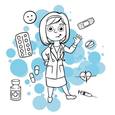 Doodle Sketch Doctor. Simple flat illustration of drugs, pills, capsules, syringe