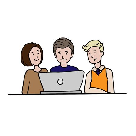 Doodle sketch business men women discuss computer teamwork. Simple, flat illustration
