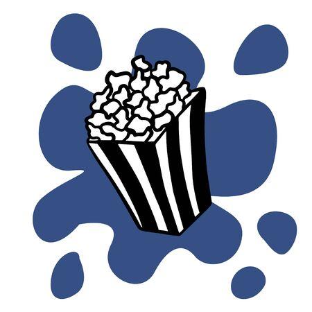 Doodle sketch popcorn, simple flat illustration