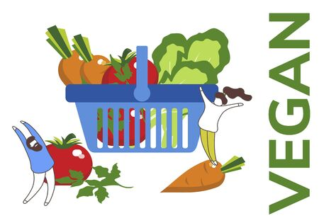 Simple flat illustration of organic food. Landing page, layout, banner with vegetables.