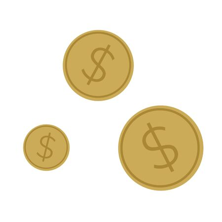 Simple flat illustration of a coin. Icon, button for your website, mobile application Zdjęcie Seryjne
