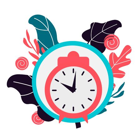 Simple flat illustration of a clock, alarm clock on a white background.