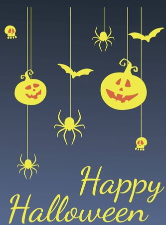 Happy Halloween greeting card template. Pumpkin and other traditional elements of Halloween. Zdjęcie Seryjne