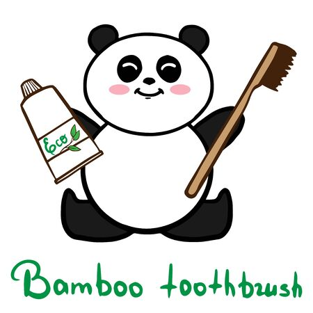 Bamboo toothbrush wih panda zero waste concept vector illustration Zdjęcie Seryjne