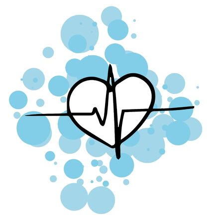 doodle sketch heart with cardiogram line on a white background. A simple, flattering illustration. 스톡 콘텐츠