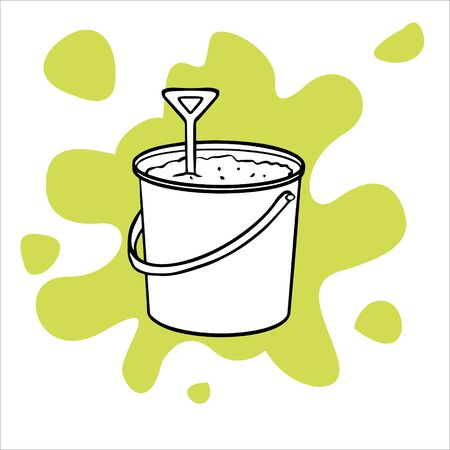 Simple flat illustration of a bucket with sand and a shovel. Doodle sketch illustration