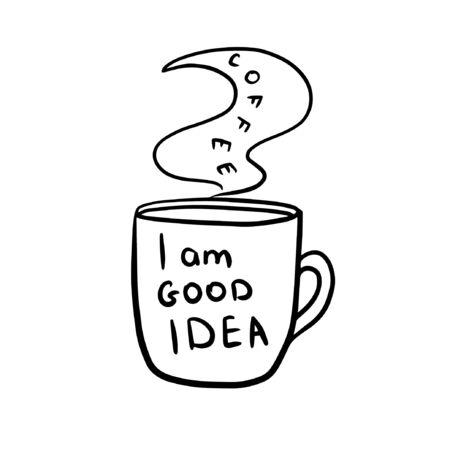 doodle sketch mug labeled i am a good idea Stock Illustratie