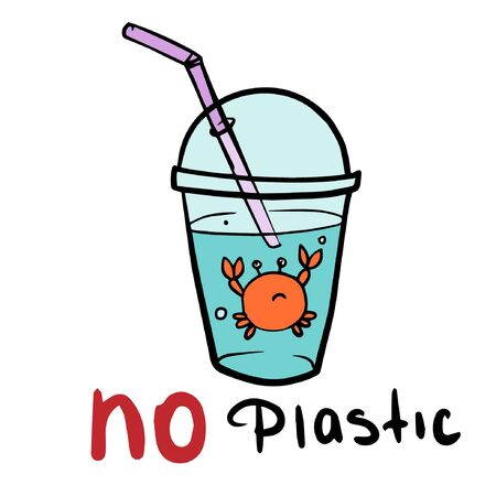say no to plastic cartoon vector illustration doodle style Ilustracja