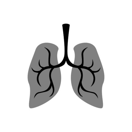 simple, flat illustration of the lungs. Illustration for icons, buttons