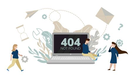 Simple flat illustration of a laptop. Failure, broken computer. Error 404 on the screen