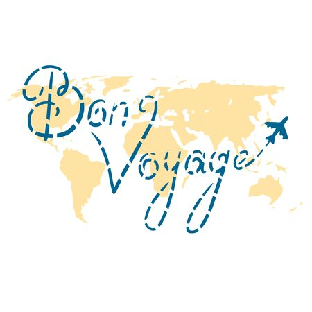 Infographics vector illustration. Airplane path from Bon Voyage lettering. Ilustracja