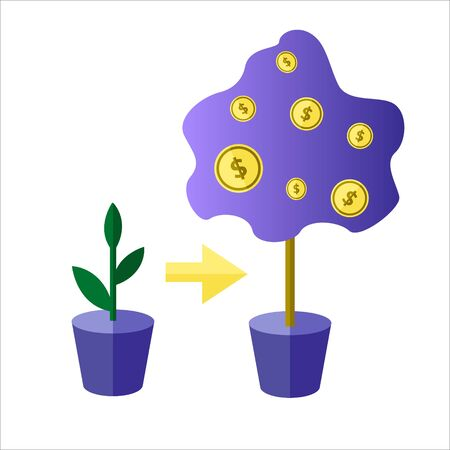 Investor watering money tree, deposit investment metaphor. Simple flat illustration of the concept of deposit