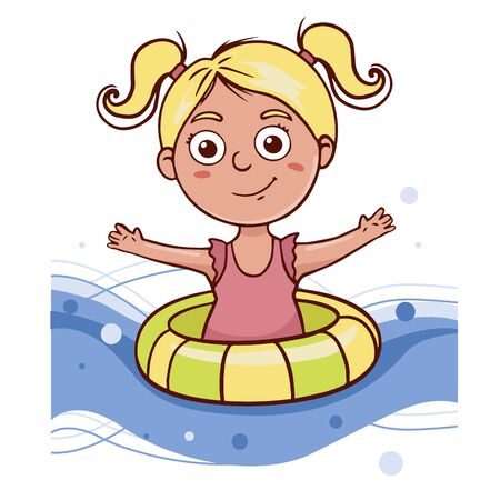 Simple flat illustration a girl swims in a lifebuoy. Doodle sketch baby in a swimsuit Ilustracja