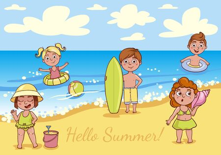 Simple flat illustration of kids on the beach. Cheerful boys and girls are swimming in the sea. Ilustracja