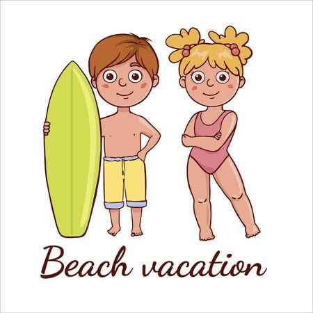 Simple flat illustration of kids on the beach.