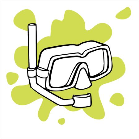 Doodles sketch illustration swimming mask. Simple flat illustration of swimming equipment Stock Illustratie