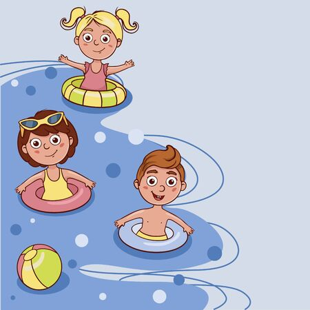 Simple flat illustration children in lifebuoys are swimming in the sea, pool. Doodle sketch on a white background. Ilustracja