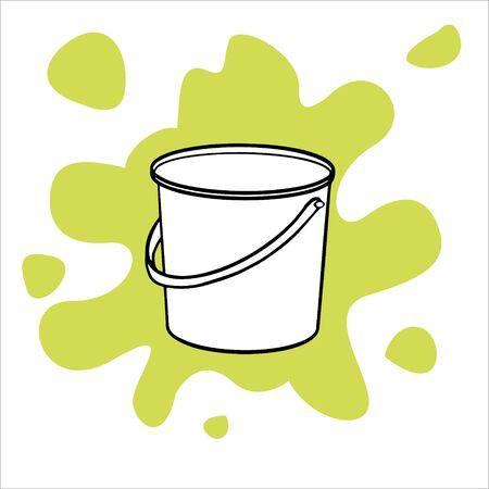 Simple flat illustration of an empty bucket.